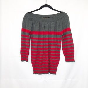 The Limited Gray Red Striped Merino Wool Blend Top